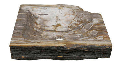 "Bathroom Vessel Sink, 15"" Petrified Wood, Allstone Group, PEWD-#9-4 - Showroom Sinks"