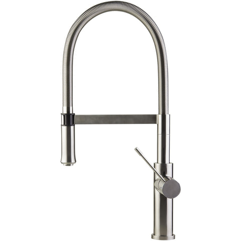 ALFI Brushed Gooseneck Single Hole Stainless Steel Kitchen Faucet AB2015