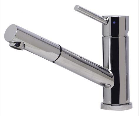 ALFI brand, Solid Stainless Steel Pull Out Swivel, Deck Mount Kitchen Faucet, Polished Stainless Steel, AB2025-PSS