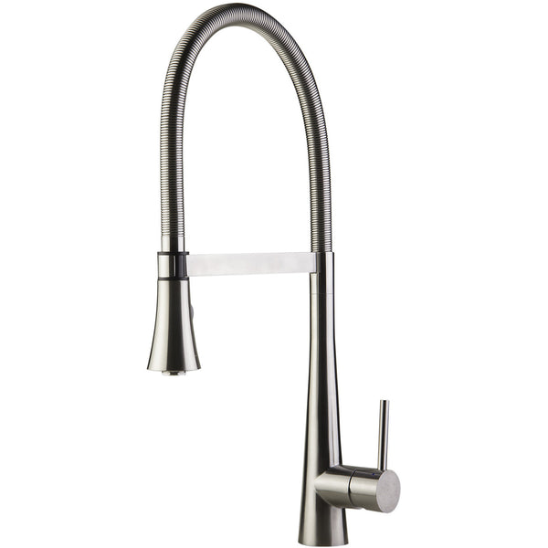 ALFI brand Gooseneck Single Hole Faucet with Spray Head - Brushed Stainless Steel AB2027