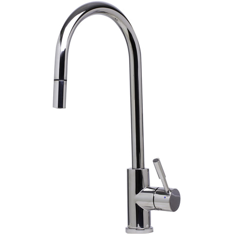 ALFI brand Single Hole Pull Down Stainless Steel Kitchen Faucet - Stainless Steel AB2028 - Showroom Sinks