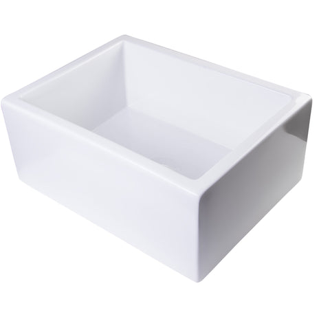 "Alfi Brand 24"" Thick Wall Single Bowl Fireclay Farmhouse Kitchen Sink - White AB2418SB-W"