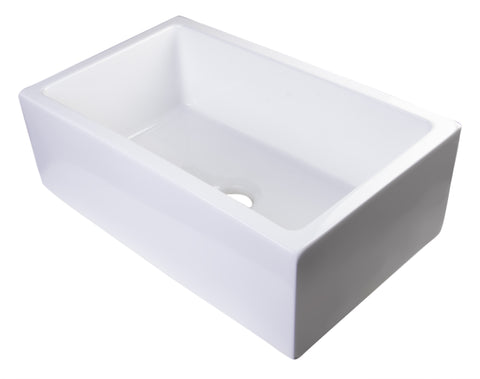 "Alfi Brand 33"" Thick Wall Single Bowl Fireclay Farmhouse Kitchen Sink - White AB3318SB-W"