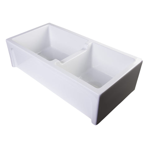 "Alfi Brand 36"" Thick Wall Double Bowl Fireclay Farmhouse Kitchen Sink - White AB3618ARCH-W"