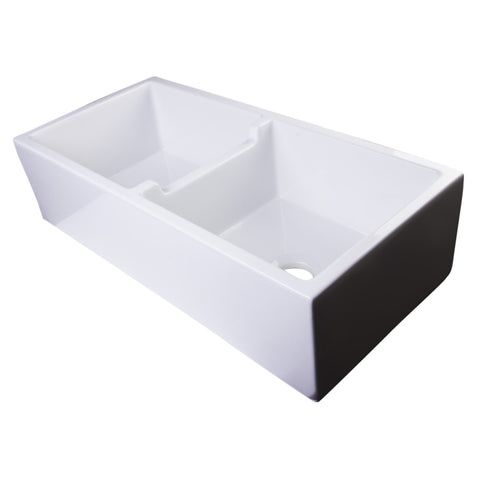 "Alfi Brand 39"" Thick Wall Double Bowl Fireclay Farmhouse Sink - White AB3918DB-W"
