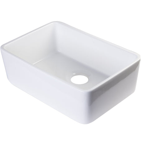"23"" Fireclay Farmhouse Sink, Single Bowl, Smooth Apron, Alfi Brand, AB503 - Showroom Sinks"