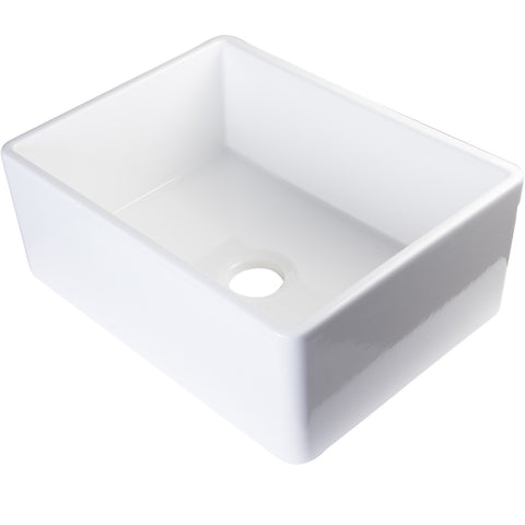 "Alfi Brand 26"" Single Bowl Fireclay Farmhouse Kitchen Sink - White AB505-W"
