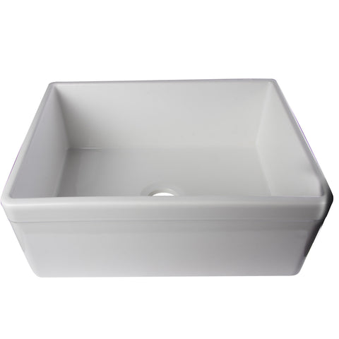 "Alfi Brand 26"" Single Bowl Fireclay Farmhouse Kitchen Sink With Decorative Lip- White AB506-W"