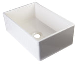 "30"" Fireclay Farmhouse Sink, Single Bowl, Fluted Apron With Decorative Lip, Alfi Brand, AB509 - Showroom Sinks"