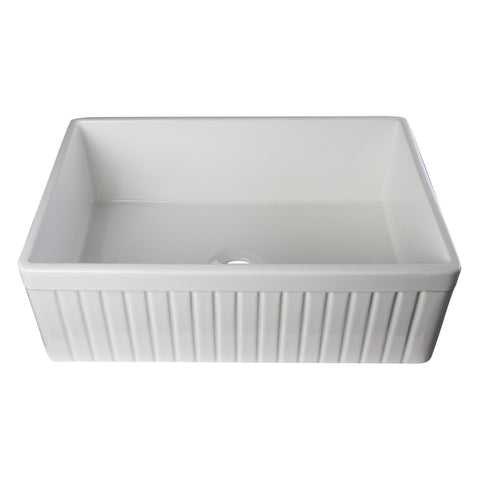 "Alfi Brand 30"" Fluted Single Bowl Fireclay Farmhouse Kitchen Sink - White AB509-W"