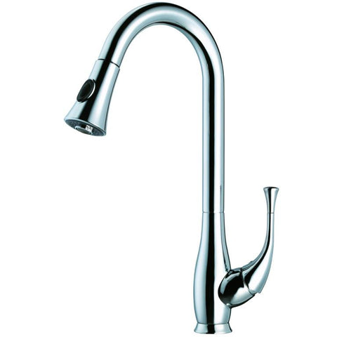 Dawn Single Lever Kitchen Faucet With Push Button Pull Out Spray - Chrome AB50 3091C
