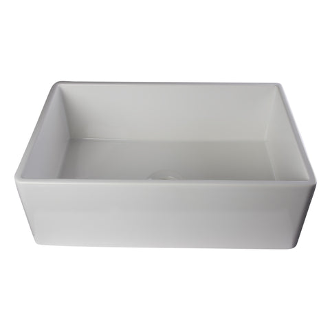 "ALFI 30"" Single Bowl Smooth Panel Fireclay Farmhouse Kitchen Sink - White AB510-W - Showroom Sinks"
