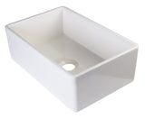 "30"" Fireclay Farmhouse Sink, Single Bowl, Smooth Apron With Decorative Lip, Alfi Brand, AB511 - Showroom Sinks"