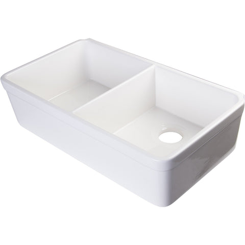 Alfi Brand 32'' Double Bowl Fireclay Farmhouse Kitchen Sink With Decorative Lip - White AB512-W