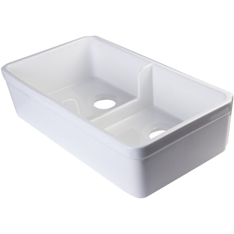 "Alfi Brand 32"" Double Bowl Fireclay Farmhouse Kitchen Sink- White AB5123-W"