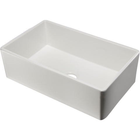 "Alfi Brand 33"" Single Bowl Fireclay Farmhouse Kitchen Sink - White AB533-W"
