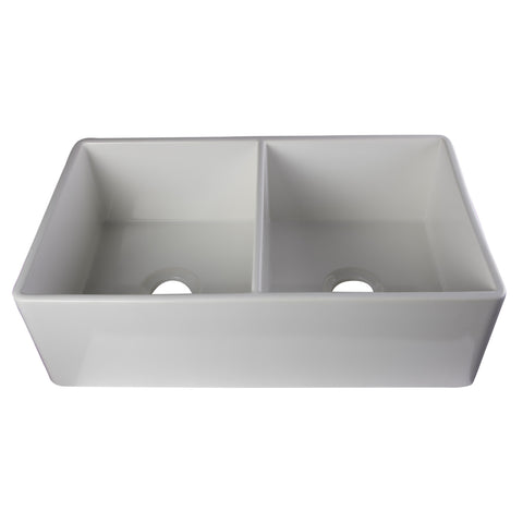 "Alfi Brand 33"" Double Bowl Fireclay Farmhouse Kitchen Sink - White AB538-W"