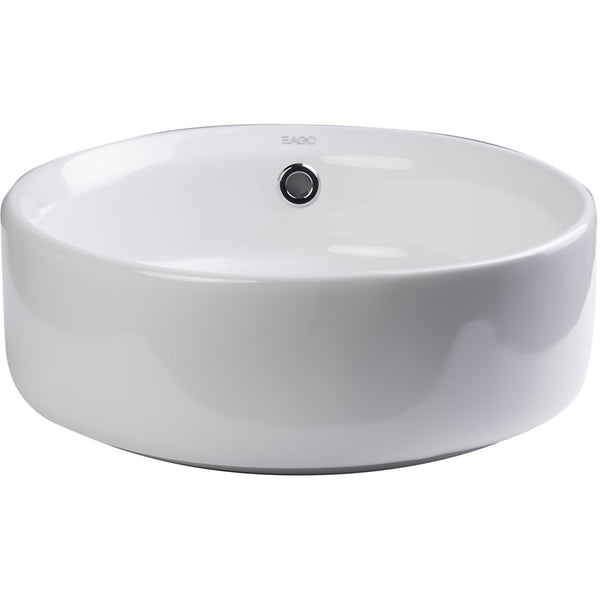EAGO 16'' Above Mount White Round Porcelain Bathroom Sink w/ Overflow BA129