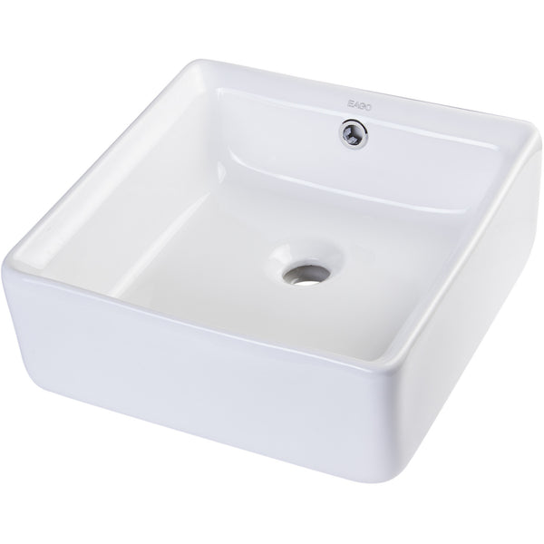EAGO 15'' White Modern Square Porcelain Bathroom Sink with Overflow BA130