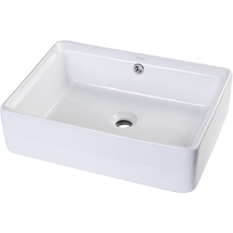 "EAGO 20"" White Rectangular Porcelain Bathroom Sink with Overflow BA131"