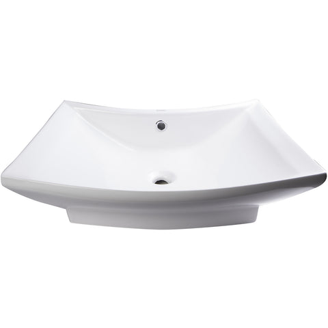 "EAGO 28"" White Rectangular Porcelain Bathroom Sink with Overflow BA142"