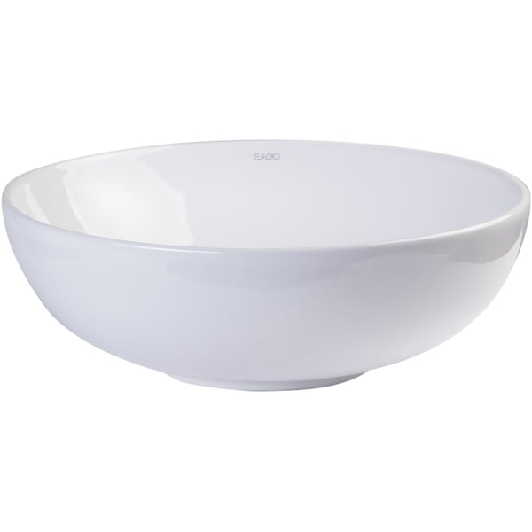 EAGO 18'' White Round Porcelain Bathroom Sink Basin without Overflow BA351