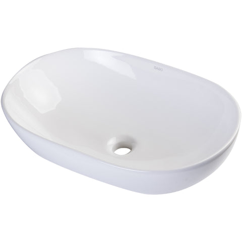 EAGO 23'' White Oval Porcelain Bathroom Sink Basin without Overflow BA352