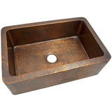 "The Copper Factory 32"" Solid Hand Hammered Large Single Bowl Farmhouse Kitchen Sink CF165AN"