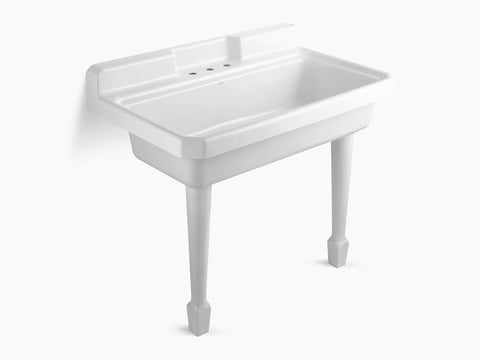 Kohler K-6607-3-0 White Harborview Self-Rimming Or Wall-Mount Utility Sink With 3 Faucet Holes On Center Deck Of Sink