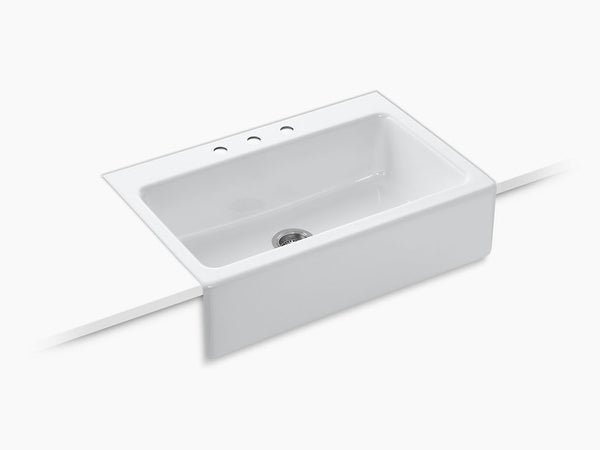 "Kohler K-6546-3 Dickinson, 33"" Cast Iron Farmhouse Sink, Tile-In, Single Bowl, With 3 Faucet Holes"