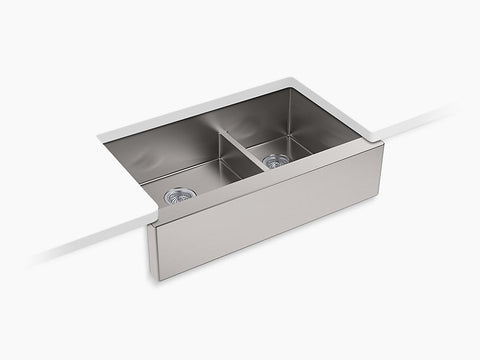 "Kohler Strive K-5416-NA Self-Trimming SmartDivide 35-1/2"" x 21-1/4"" x 9-5/16"" Under-Mount Large/Medium Double-Bowl Kitchen Sink With Tall Apron"