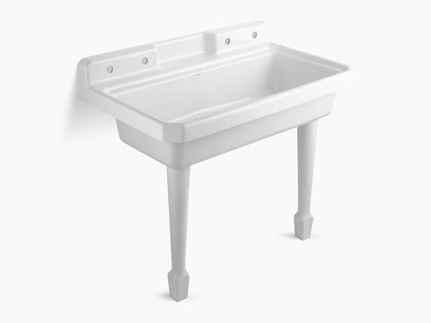 Kohler K-6607-4-0 White Harborview Self-Rimming Or Wall-Mount Utility Sink With 2 Faucet Holes On Left And Right Backwalls