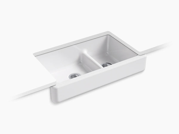 "Kohler K-6426 Whitehaven, 36"" Cast Iron Farmhouse Sink, Double Bowl, Smart Divide, Self-Trimming, With Short Apron"