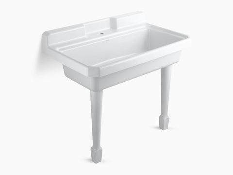 Kohler K-6607-1-0 White Harborview Self-Rimming Or Wall-Mount Utility Sink With Single-Hole Faucet Drilling On Center Deck Of Sink