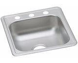 "Dayton Stainless Steel 17"", Single Bowl, Top Mount Bar Sink, Satin polished, Elkay, D117193"