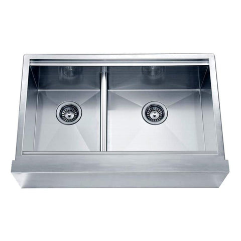 "Dawn 33"" Undermount Double Bowl with Straight Apron Front Sink (Small Bowl on Left) DAF3321L"