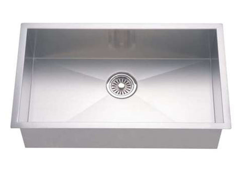 "Dawn 26"" Stainless Steel Undermount Kitchen Sink, Single Bowl with Zero Radius Corners, DSQ241609"