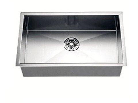 "Dawn 26"" Stainless Steel Undermount Kitchen Sink, Single Bowl with Zero Radius Corners, DSQ241607"