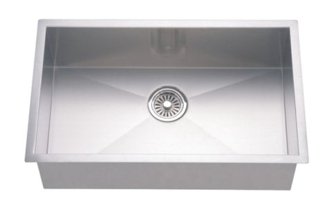 "Dawn 30"" Stainless Steel Undermount Kitchen Sink, Single Bowl with Zero Radius Corners, DSQ2816"