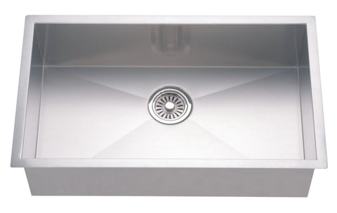 "Dawn 33"" Stainless Steel Undermount Kitchen Sink, Single Bowl with Zero Radius Corners, DSQ3116"