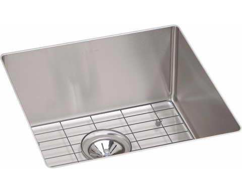 "Elkay Crosstown Stainless Steel 18-1/2"" x 18-1/2"" x 9"", Single Bowl Undermount Sink Kit, ECTRU17179DBG"