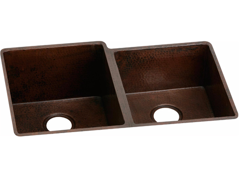 "Antique Hammered Copper 31-1/4"", Offset Double Bowl Undermount Sink, Elkay, ECU3120RACH - Showroom Sinks"