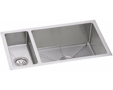 "Elkay Crosstown 16 Gauge Stainless Steel 32-1/4"" x 18-1/4"" x 10"", 30/70 Double Bowl Undermount Sink Kit, EFRU321910DBG"