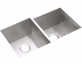 "Elkay Crosstown 16 Gauge Stainless Steel 31-1/4"", Zero Radius Corners, Offset Double Bowl Undermount Sink Kit, EFU312010RDBG"