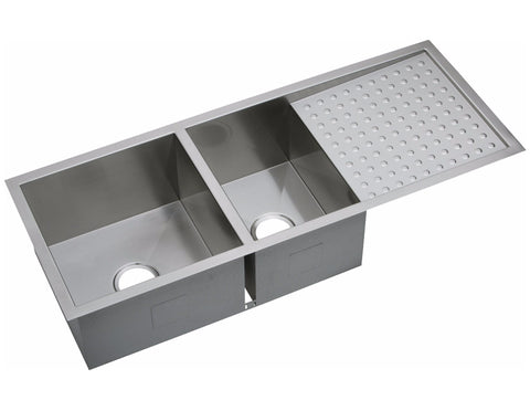 "Elkay Crosstown 16 Gauge Stainless Steel 47-1/4"" x 18-1/2"" x 10"", 60/40 Double Bowl Undermount Kitchen Sink with Drainboard, EFU471810DB"
