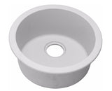 "Elkay Quartz Classic 18-1/8"" x 18-1/8"" x 7-1/2"", Single Bowl Dual Mount Bar Sink, White, ELG16FB"