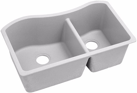 "Elkay Quartz Classic 32-1/2"", 60/40 Double Bowl Undermount Sink, ELGHU3220R"