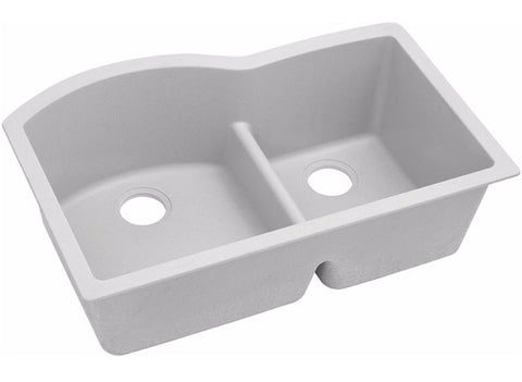 "Elkay Quartz Classic 33"" Offset 60/40 Double Bowl Undermount Sink with Aqua Divide, ELGHU3322R"