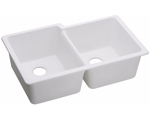 "Elkay Quartz Classic 33"" x 20-1/2"" x 9-1/2"", Offset Double Bowl Undermount Sink, White, ELGU250R"