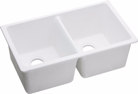 "Elkay Quartz Classic 33"", Equal Double Bowl Undermount Sink, ELGU3322"